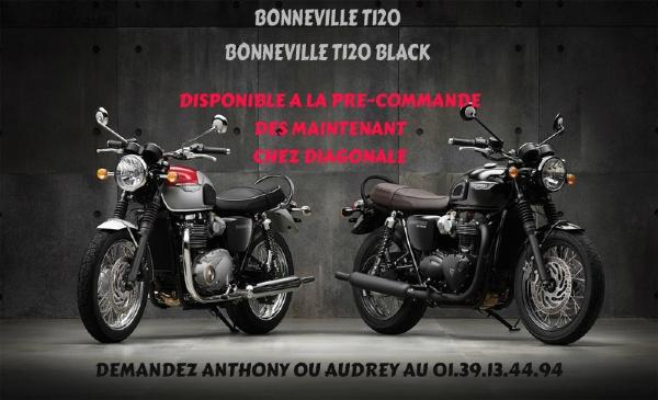 BONNEVILLE T120 ET T120 BLACK DISPONIBLE A LA PRE-COMMANDE